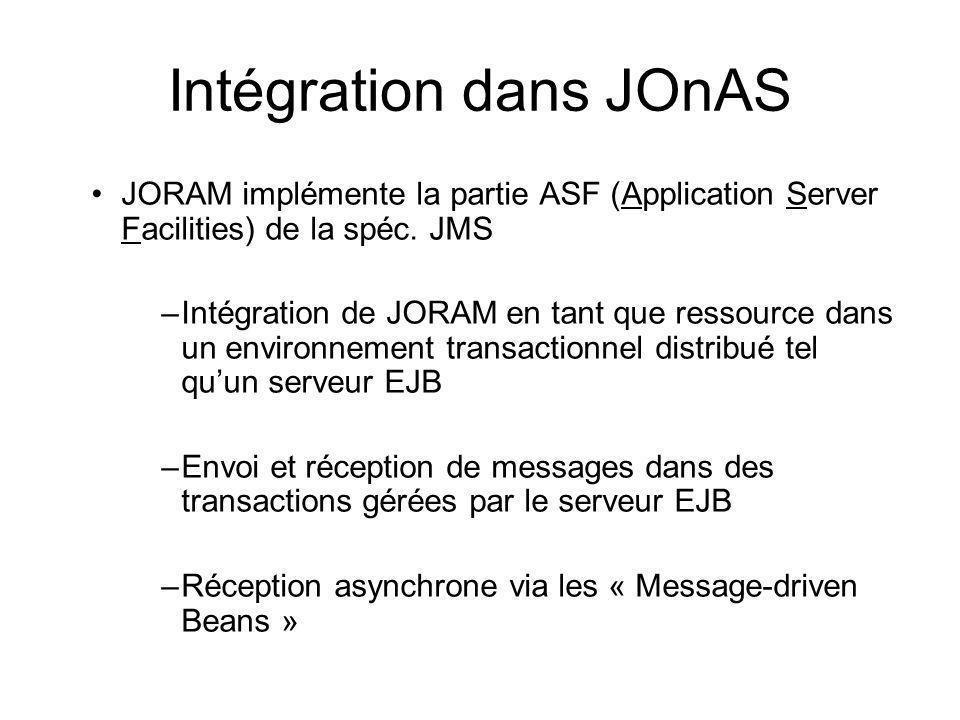 Intégration dans JOnAS JORAM implémente la partie ASF (Application Server Facilities) de la spéc. JMS –Intégration de JORAM en tant que ressource dans