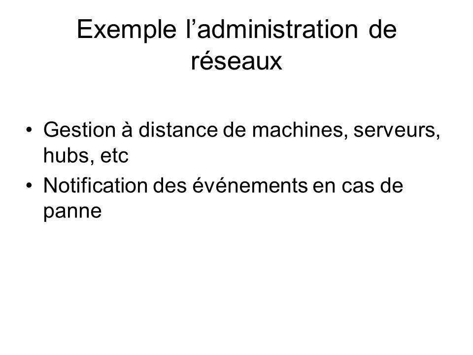 Exemple ladministration de réseaux Gestion à distance de machines, serveurs, hubs, etc Notification des événements en cas de panne