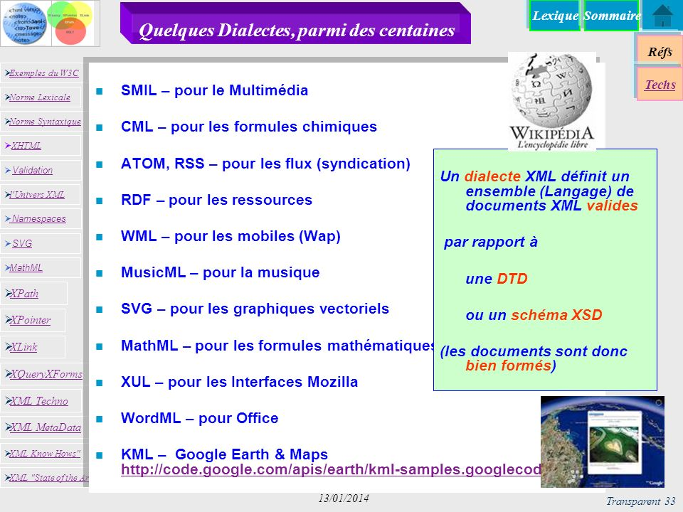 Lexique Réfs Exemples du W3C Norme Lexicale Norme Syntaxique XHTML XHTML Namespaces SVG SVG MathML XML MetaData XML Know Hows XML State of the Art XPath XPointer XLink XQueryXForms XML Techno l Univers XML Validation Validation Techs Sommaire Transparent 33 13/01/2014 Quelques Dialectes, parmi des centaines n SMIL – pour le Multimédia n CML – pour les formules chimiques n ATOM, RSS – pour les flux (syndication) n RDF – pour les ressources n WML – pour les mobiles (Wap) n MusicML – pour la musique n SVG – pour les graphiques vectoriels n MathML – pour les formules mathématiques n XUL – pour les Interfaces Mozilla n WordML – pour Office n KML – Google Earth & Maps http://code.google.com/apis/earth/kml-samples.googlecode.com http://code.google.com/apis/earth/kml-samples.googlecode.com Un dialecte XML définit un ensemble (Langage) de documents XML valides par rapport à une DTD ou un schéma XSD (les documents sont donc bien formés)