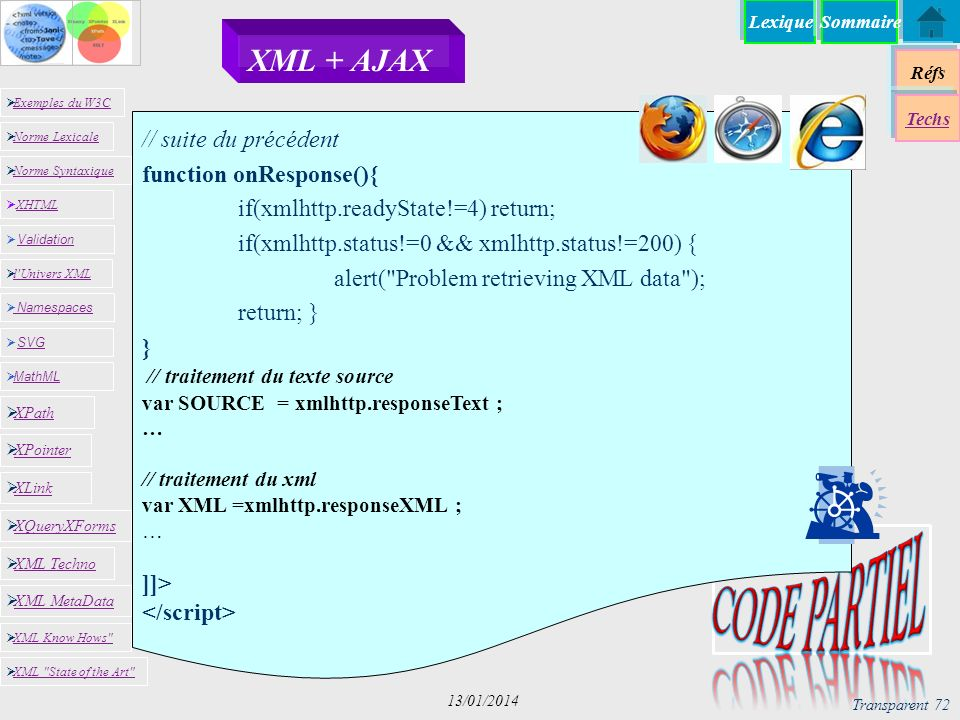 Lexique Réfs Exemples du W3C Norme Lexicale Norme Syntaxique XHTML XHTML Namespaces SVG SVG MathML XML MetaData XML Know Hows XML State of the Art XPath XPointer XLink XQueryXForms XML Techno l Univers XML Validation Validation Techs Sommaire Transparent 72 13/01/2014 XML + AJAX // suite du précédent function onResponse(){ if(xmlhttp.readyState!=4) return; if(xmlhttp.status!=0 && xmlhttp.status!=200) { alert( Problem retrieving XML data ); return; } } // traitement du texte source var SOURCE = xmlhttp.responseText ; … // traitement du xml var XML =xmlhttp.responseXML ; … ]]>