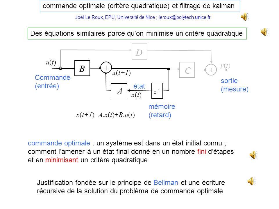 commande optimale (critère quadratique) et filtrage de kalman Des équations similaires parce quon minimise un critère quadratique Justification fondée sur le principe de Bellman et une écriture récursive de la solution du problème de commande optimale commande optimale : un système est dans un état initial connu ; comment lamener à un état final donné en un nombre fini détapes et en minimisant un critère quadratique y(t)y(t) mémoire (retard) z -1 A B u(t)u(t) Commande (entrée) x(t+1) C + + x(t)x(t) état sortie (mesure) x(t+1)=A.x(t)+B.u(t) D Joël Le Roux, EPU, Université de Nice ; leroux@polytech.unice.fr
