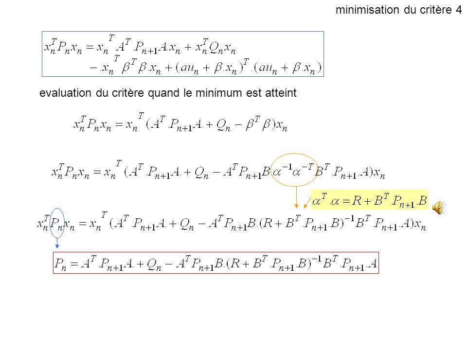 evaluation du critère quand le minimum est atteint minimisation du critère 3