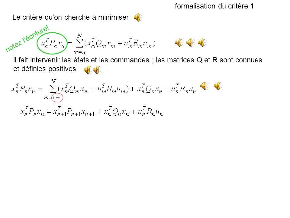 commande optimale (critère quadratique) et filtrage de kalman Des équations similaires parce quon minimise un critère quadratique Justification fondée