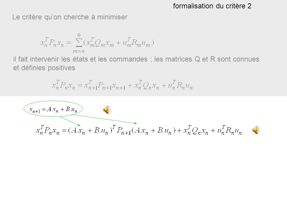 Le critère quon cherche à minimiser il fait intervenir les états et les commandes ; les matrices Q et R sont connues et définies positives formalisation du critère 1 notez lécriture!