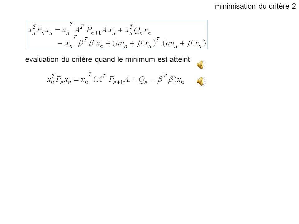 Factorisation en racines carrées (triangulaires) le critère est minimum quand le dernier terme est nul minimisation du critère 1