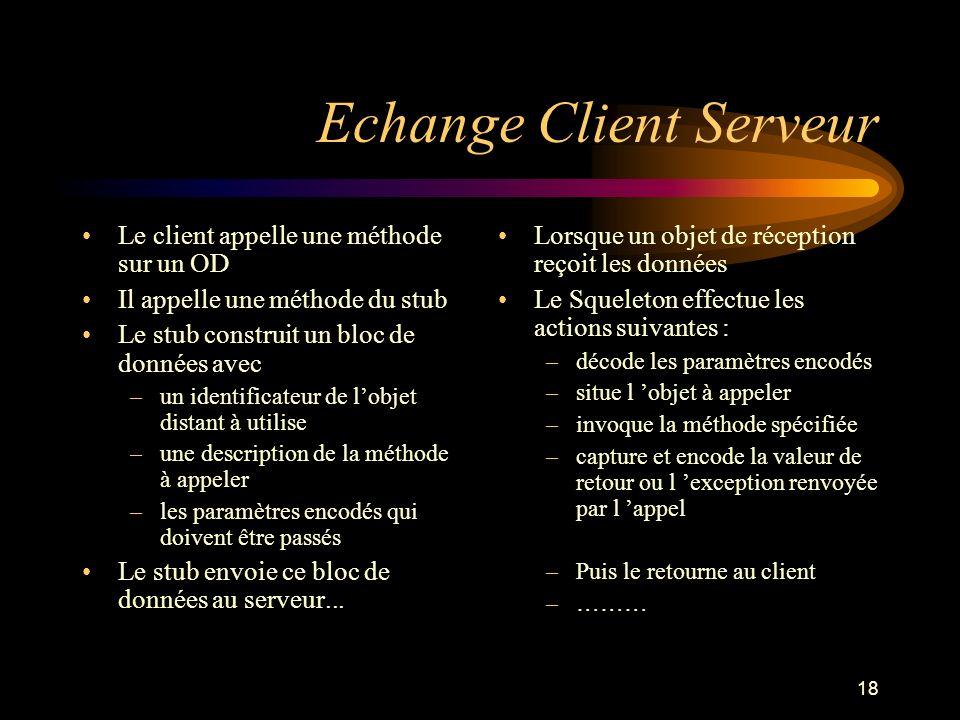 18 Echange Client Serveur Le client appelle une méthode sur un OD Il appelle une méthode du stub Le stub construit un bloc de données avec –un identif