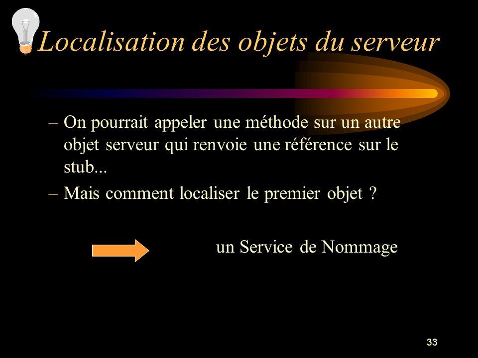33 –On pourrait appeler une méthode sur un autre objet serveur qui renvoie une référence sur le stub... –Mais comment localiser le premier objet ? un
