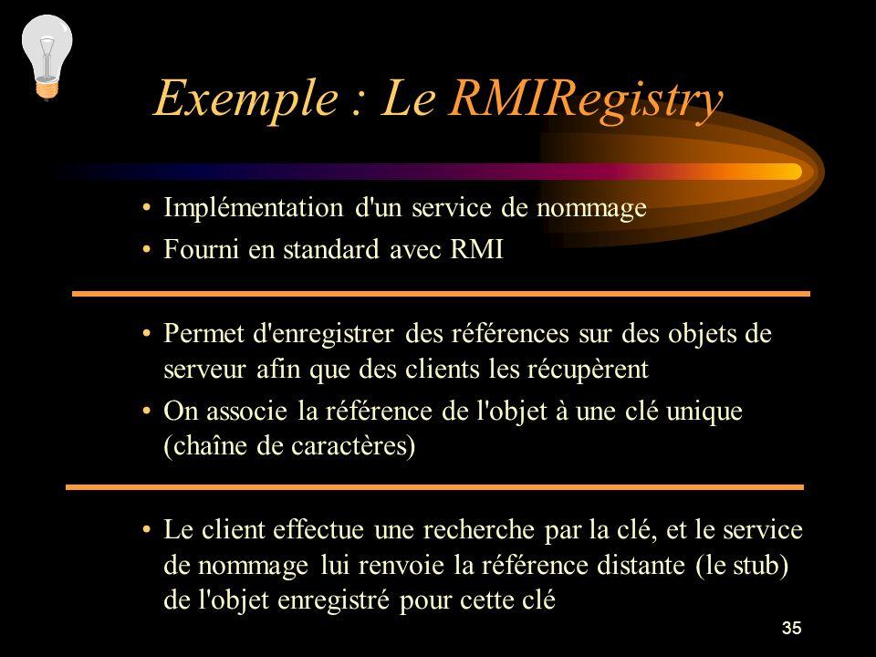 35 Implémentation d'un service de nommage Fourni en standard avec RMI Permet d'enregistrer des références sur des objets de serveur afin que des clien