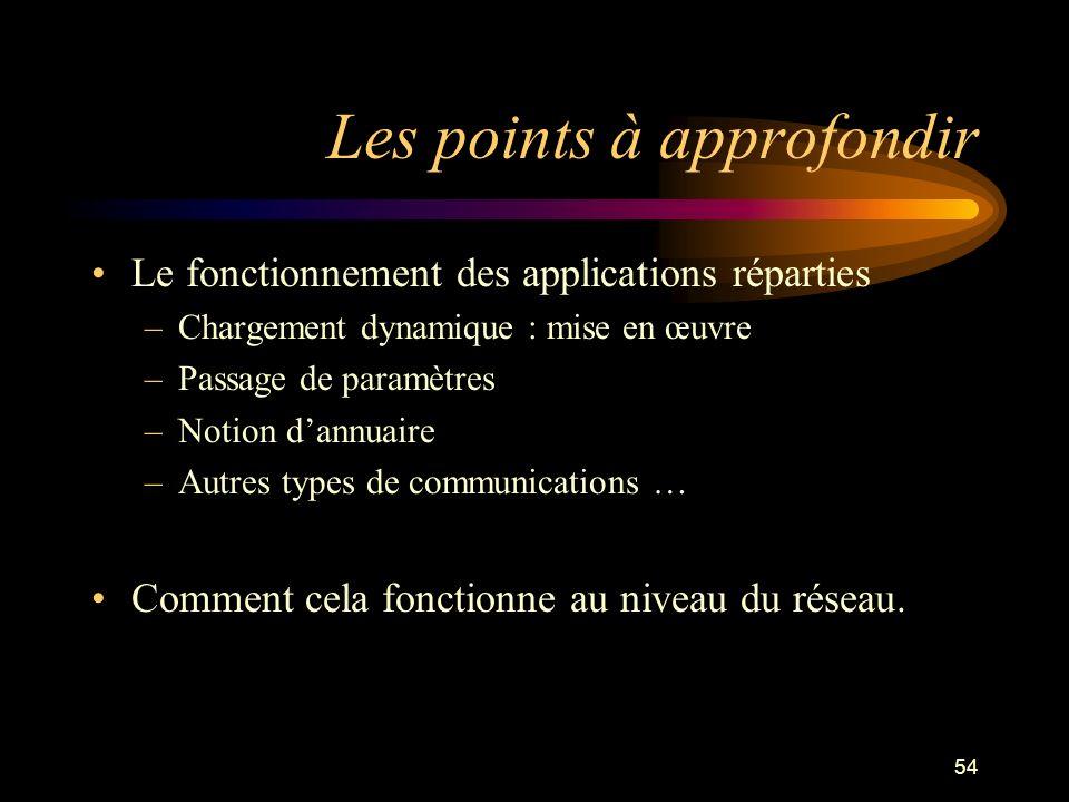 54 Les points à approfondir Le fonctionnement des applications réparties –Chargement dynamique : mise en œuvre –Passage de paramètres –Notion dannuair