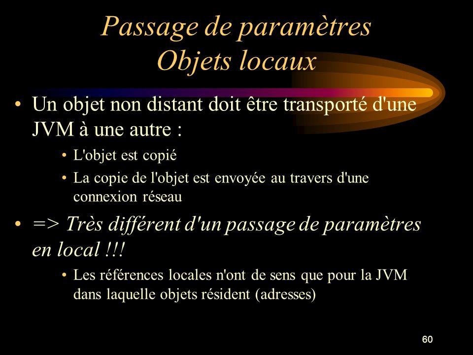 60 Passage de paramètres Objets locaux Un objet non distant doit être transporté d'une JVM à une autre : L'objet est copié La copie de l'objet est env