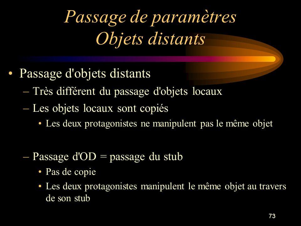 73 Passage de paramètres Objets distants Passage d'objets distants –Très différent du passage d'objets locaux –Les objets locaux sont copiés Les deux