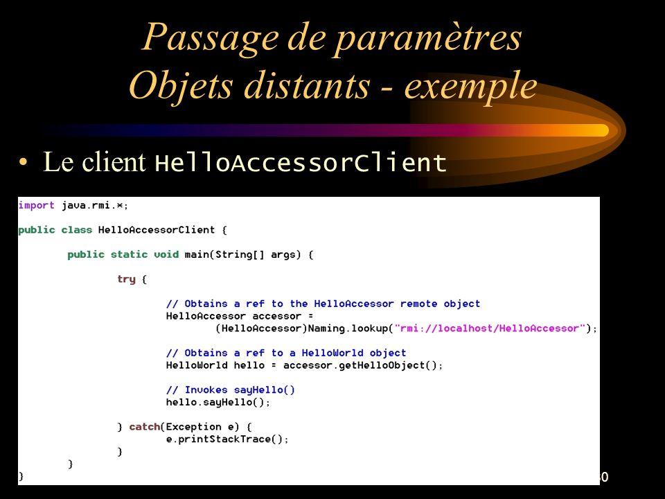 80 Passage de paramètres Objets distants - exemple Le client HelloAccessorClient