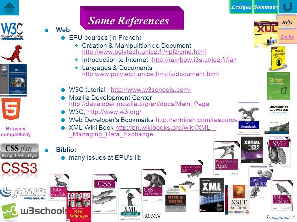 Browser compatibility Réfs Techs SommaireLexique Transparent 4 13/01/2014 Documentation et Manuels n Documents du web liste de balises HTML code des couleurs RVB code HTML des caractères ISO liste des extensions de fichiers (formats) liste des extensions de fichiers (formats) Expressions Rationnelles n Manuels.