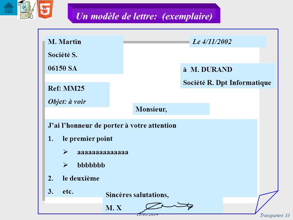 Transparent 34 13/01/2014 Un modèle de lettre: structure logique arborescente M.