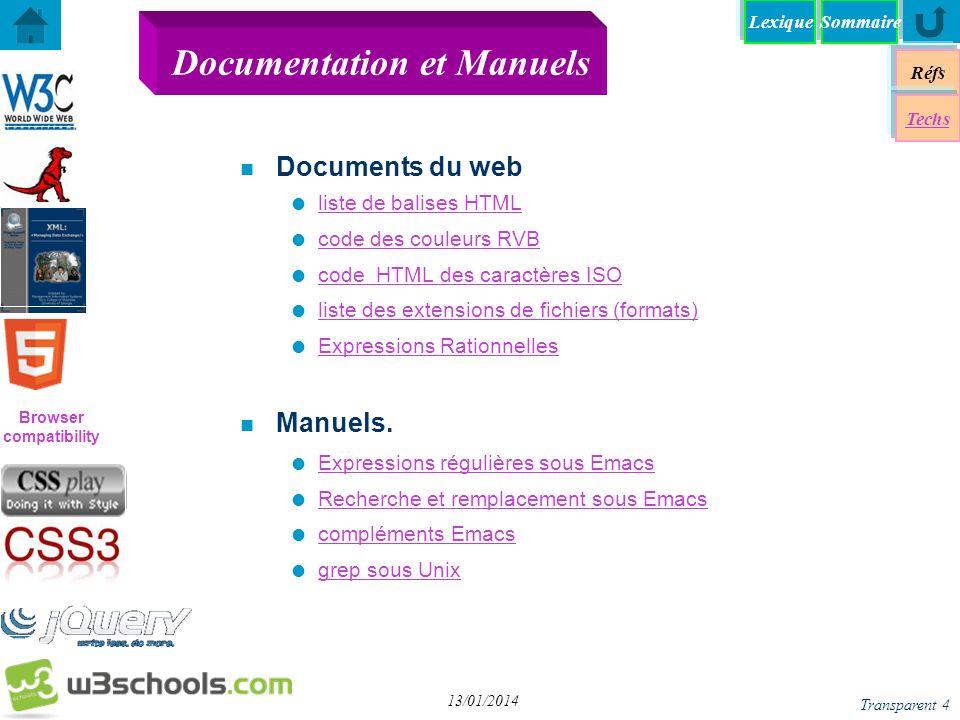 Browser compatibility Réfs Techs SommaireLexique Transparent 4 13/01/2014 Documentation et Manuels n Documents du web liste de balises HTML code des c