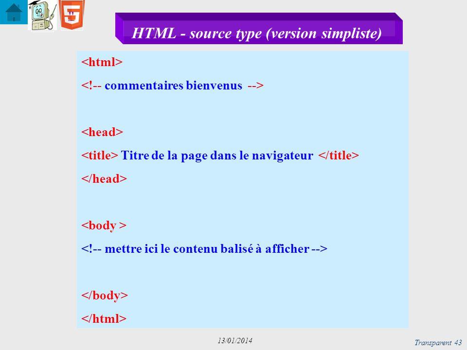 Transparent 44 13/01/2014 XHTML - source type (version simpliste) Titre de la page dans le navigateur