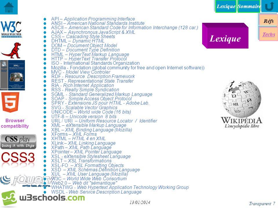 SommaireLexique Langages & Documents Réfs Techs......