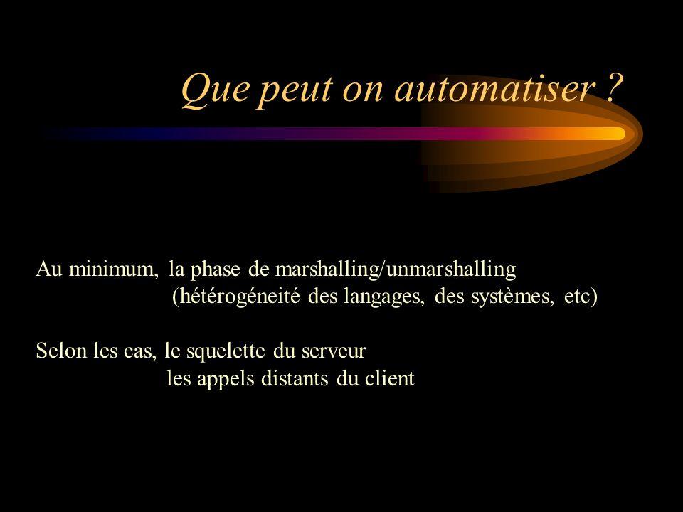 Que peut on automatiser ? Au minimum, la phase de marshalling/unmarshalling (hétérogéneité des langages, des systèmes, etc) Selon les cas, le squelett