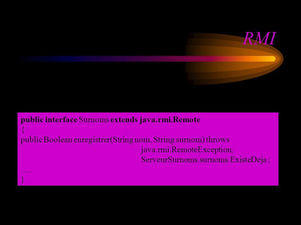 RMI public interface Surnoms extends java.rmi.Remote { public Boolean enregistrer(String nom, String surnom) throws java.rmi.RemoteException, ServeurS
