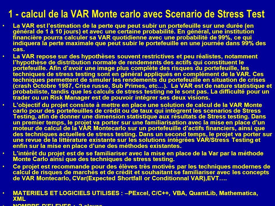1 - calcul de la VAR Monte carlo avec Scenario de Stress Test La VAR est lestimation de la perte que peut subir un portefeuille sur une durée (en général de 1 à 10 jours) et avec une certaine probabilité.