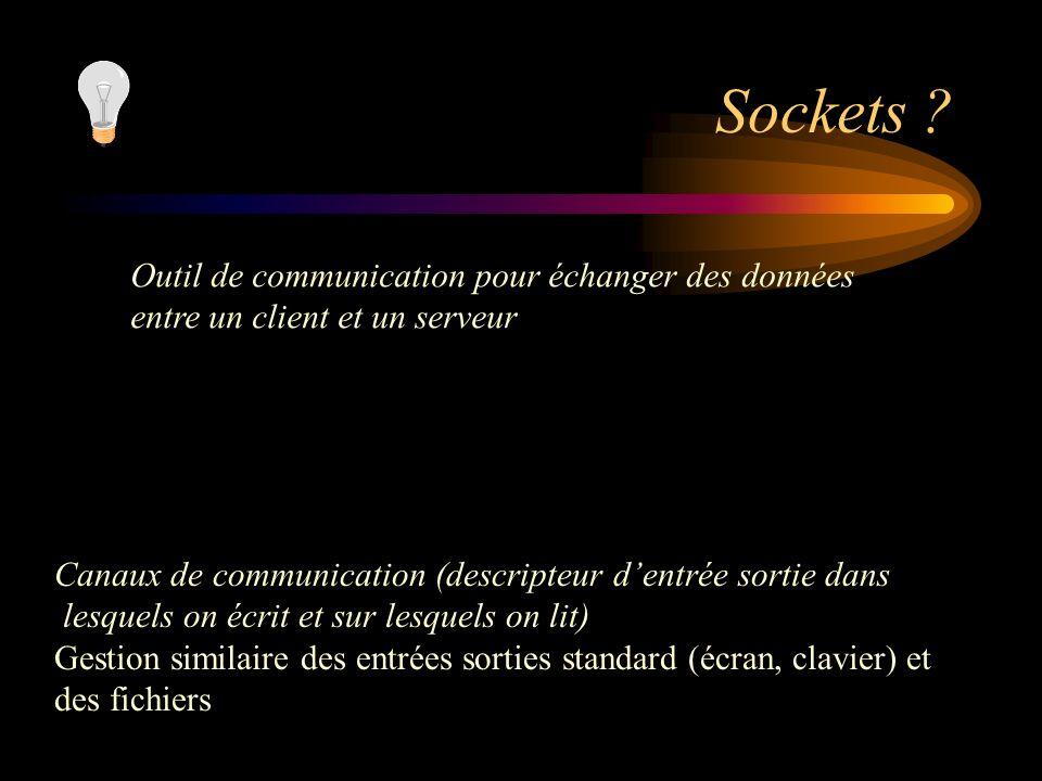 Sockets ? Outil de communication pour échanger des données entre un client et un serveur Canaux de communication (descripteur dentrée sortie dans lesq