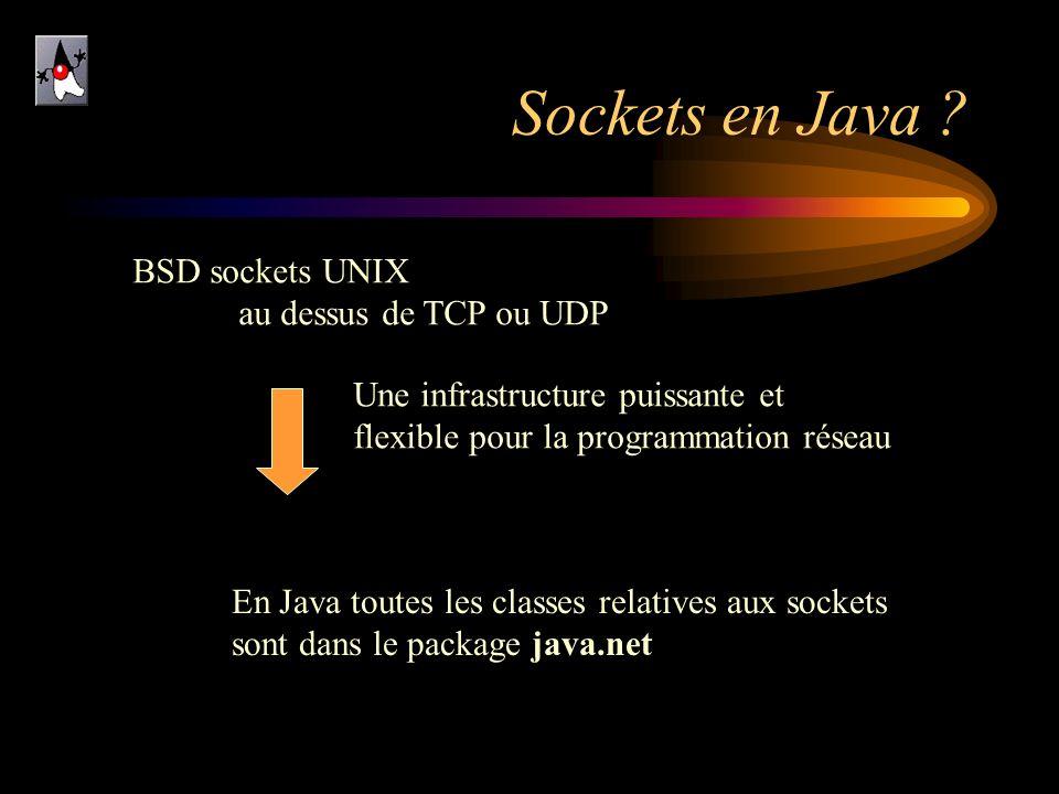 Sockets en Java ? BSD sockets UNIX au dessus de TCP ou UDP En Java toutes les classes relatives aux sockets sont dans le package java.net Une infrastr