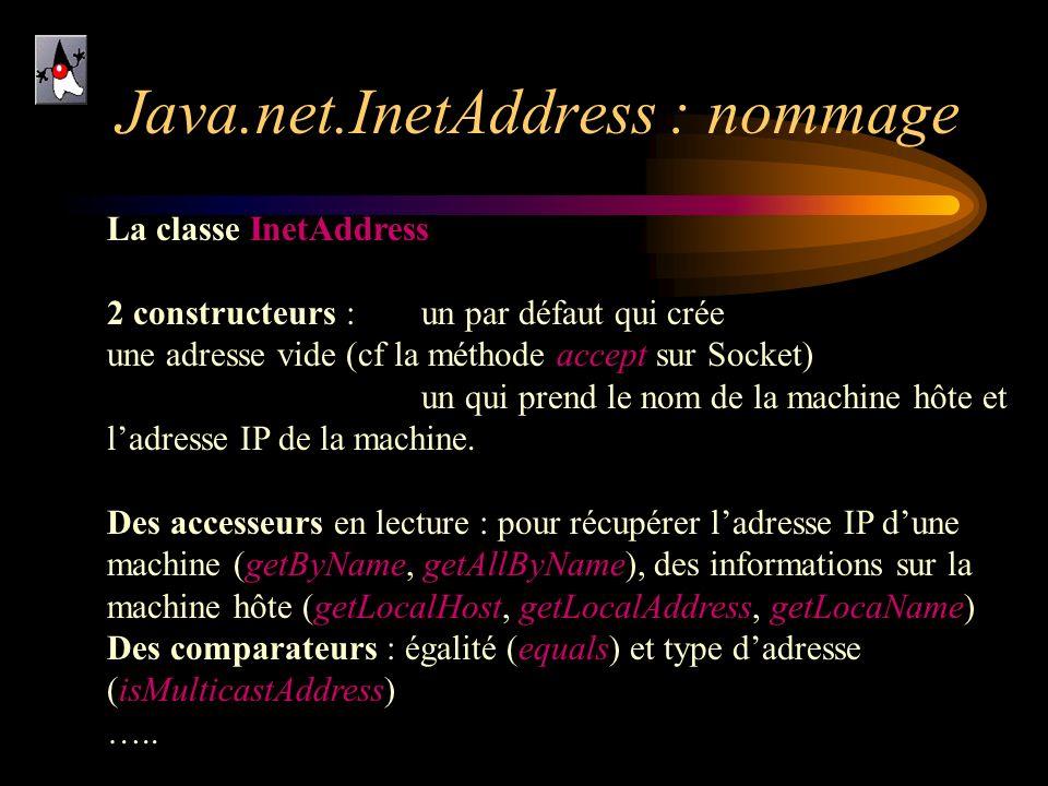 Java.net.InetAddress : nommage La classe InetAddress 2 constructeurs : un par défaut qui crée une adresse vide (cf la méthode accept sur Socket) un qu