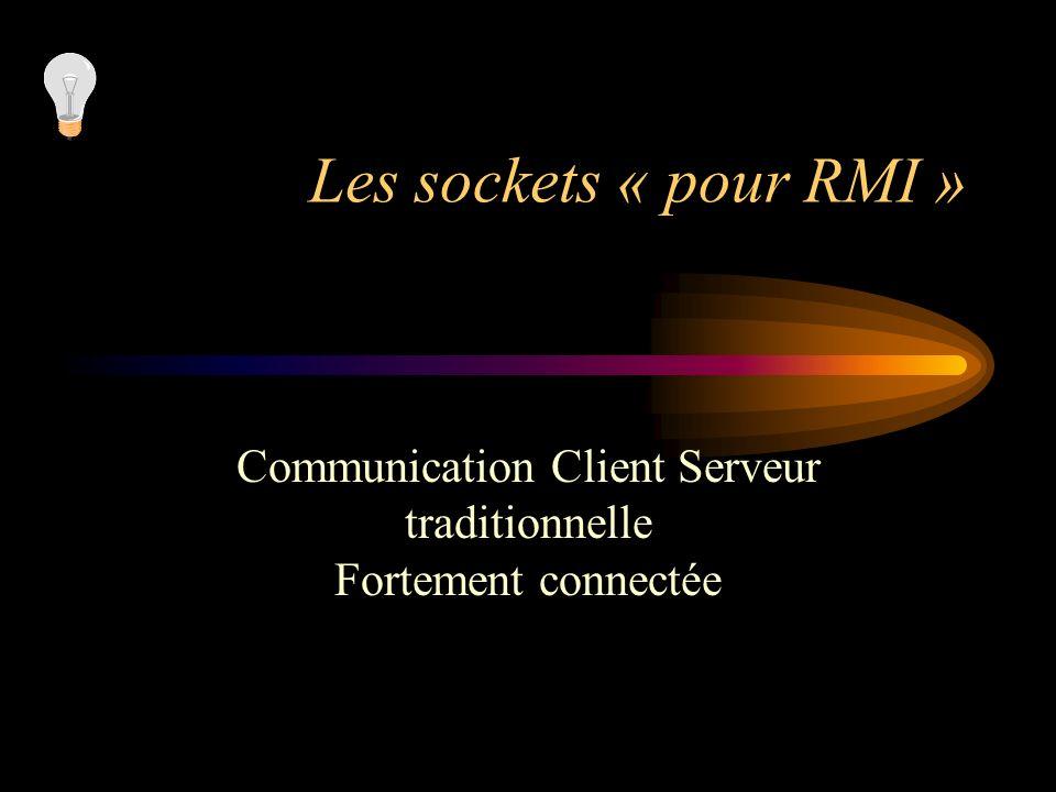 Les sockets « pour RMI » Communication Client Serveur traditionnelle Fortement connectée