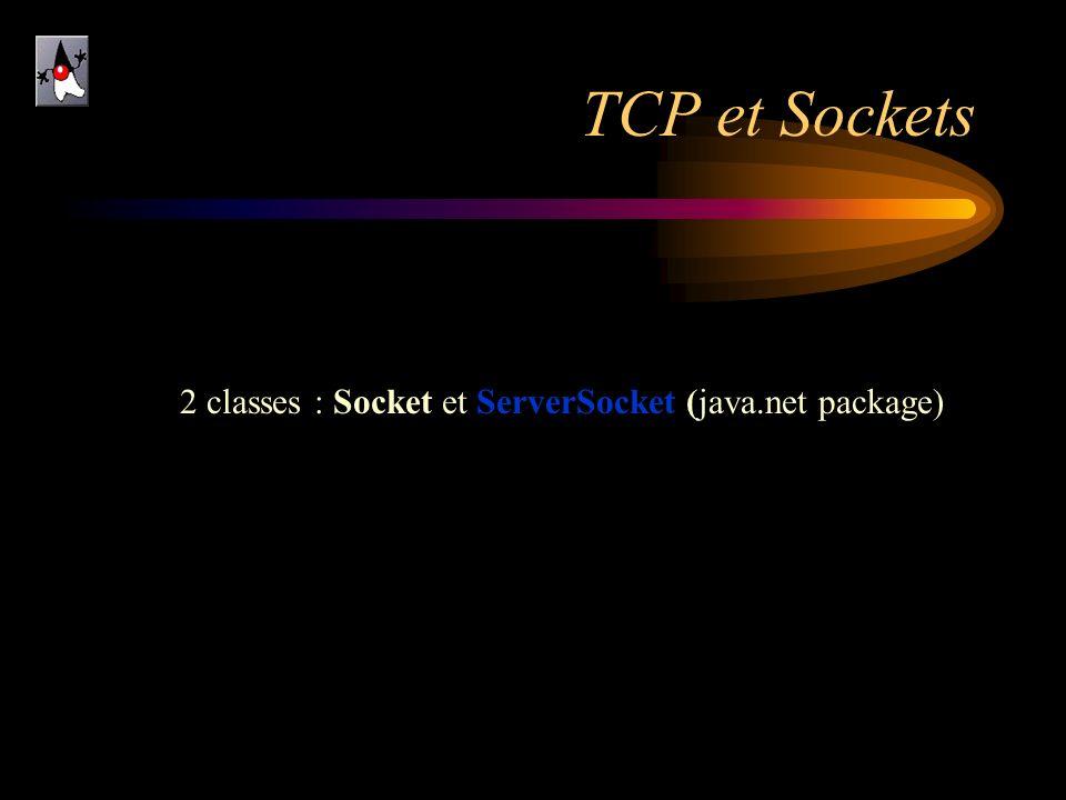 TCP et Sockets 2 classes : Socket et ServerSocket (java.net package)