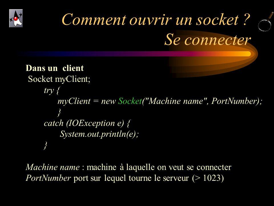 Comment ouvrir un socket ? Se connecter Dans un client Socket myClient; try { myClient = new Socket(