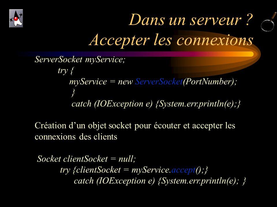 Dans un serveur ? Accepter les connexions ServerSocket myService; try { myService = new ServerSocket(PortNumber); } catch (IOException e) {System.err.