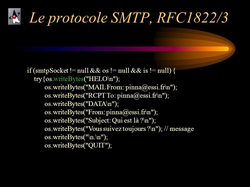 Le protocole SMTP, RFC1822/3 if (smtpSocket != null && os != null && is != null) { try{os.writeBytes(