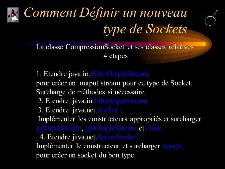 Comment Définir un nouveau type de Sockets La classe CompressionSocket et ses classes relatives 4 étapes 1. Etendre java.io.FilterOutputStream pour cr