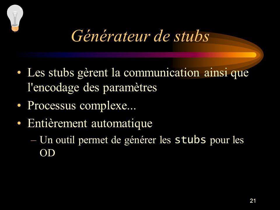21 Générateur de stubs Les stubs gèrent la communication ainsi que l encodage des paramètres Processus complexe...