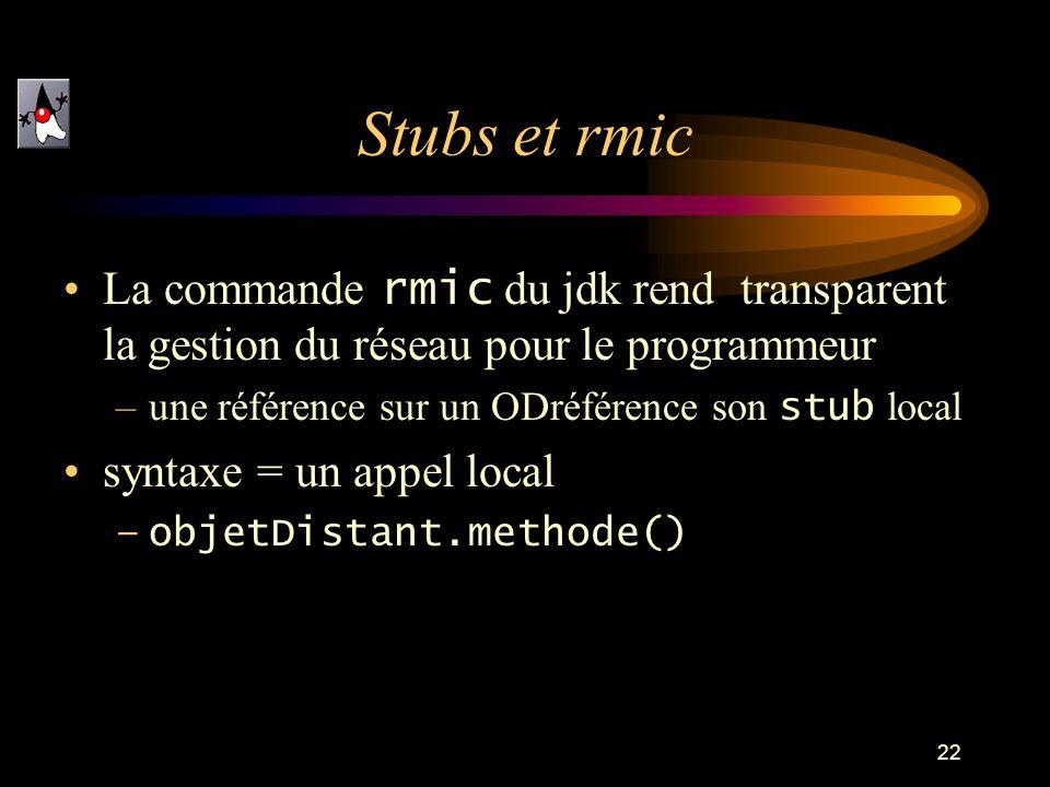 22 Stubs et rmic La commande rmic du jdk rend transparent la gestion du réseau pour le programmeur –une référence sur un ODréférence son stub local syntaxe = un appel local –objetDistant.methode()