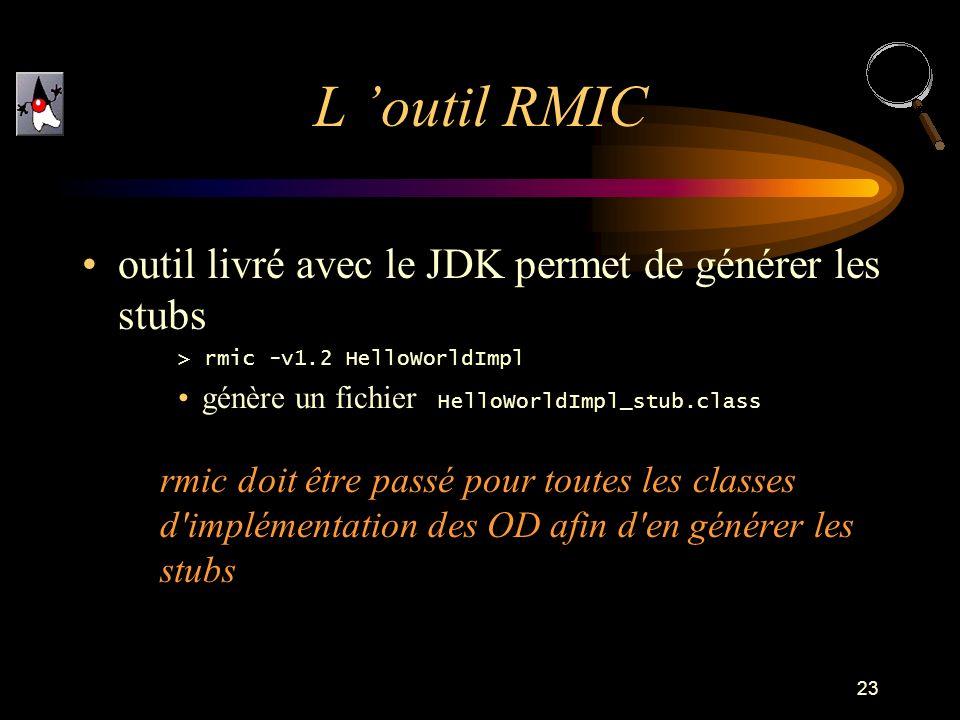 23 outil livré avec le JDK permet de générer les stubs > rmic -v1.2 HelloWorldImpl génère un fichier HelloWorldImpl_stub.class rmic doit être passé pour toutes les classes d implémentation des OD afin d en générer les stubs L outil RMIC