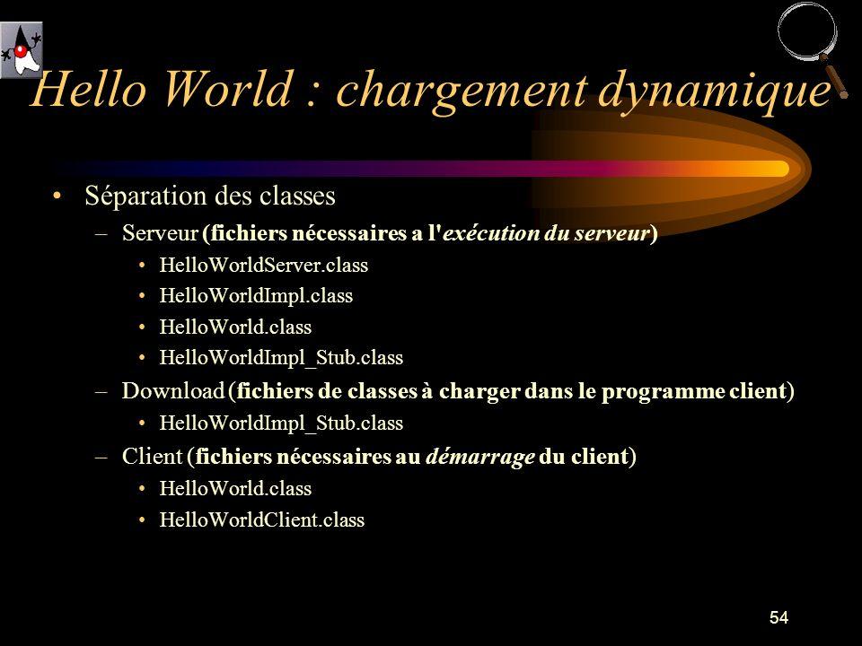 54 Séparation des classes –Serveur (fichiers nécessaires a l exécution du serveur) HelloWorldServer.class HelloWorldImpl.class HelloWorld.class HelloWorldImpl_Stub.class –Download (fichiers de classes à charger dans le programme client) HelloWorldImpl_Stub.class –Client (fichiers nécessaires au démarrage du client) HelloWorld.class HelloWorldClient.class Hello World : chargement dynamique