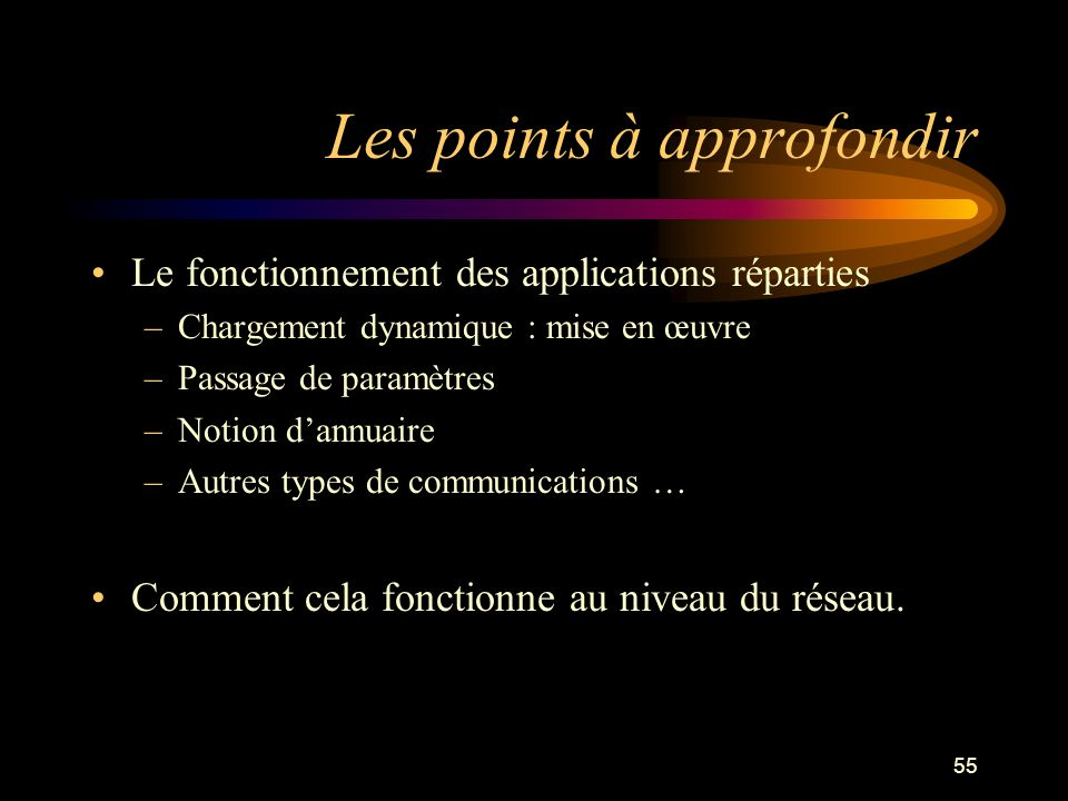 55 Les points à approfondir Le fonctionnement des applications réparties –Chargement dynamique : mise en œuvre –Passage de paramètres –Notion dannuaire –Autres types de communications … Comment cela fonctionne au niveau du réseau.