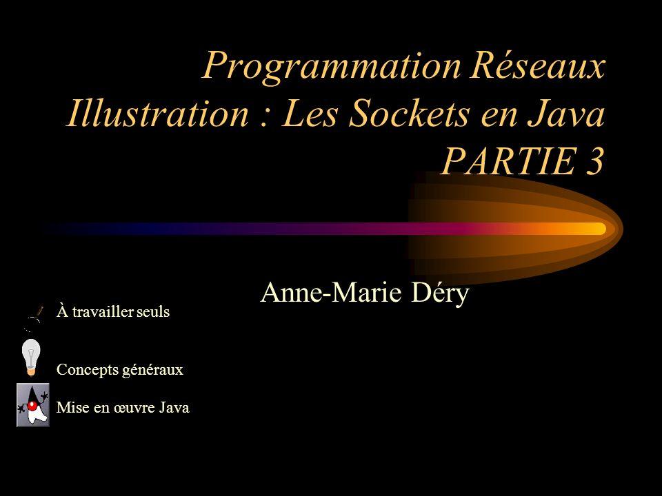 Programmation Réseaux Illustration : Les Sockets en Java PARTIE 3 Anne-Marie Déry À travailler seuls Concepts généraux Mise en œuvre Java