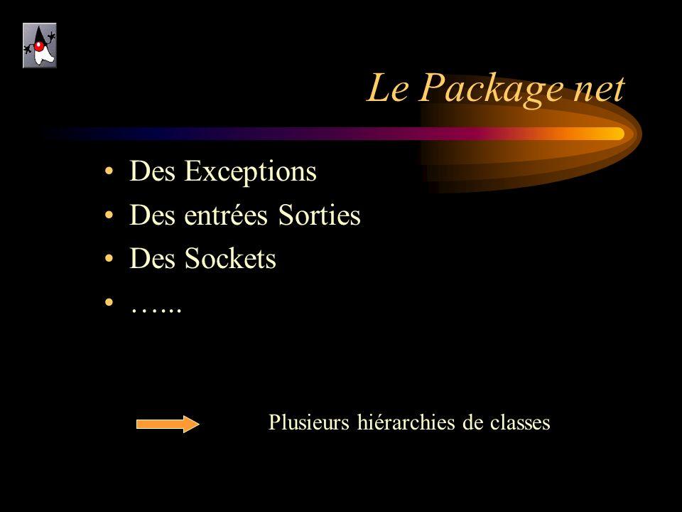 Le Package net Des Exceptions Des entrées Sorties Des Sockets …... Plusieurs hiérarchies de classes