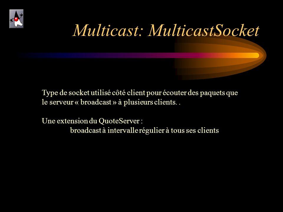 Multicast: MulticastSocket Type de socket utilisé côté client pour écouter des paquets que le serveur « broadcast » à plusieurs clients.. Une extensio