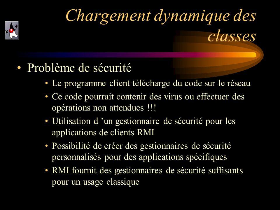 Chargement dynamique des classes Problème de sécurité Le programme client télécharge du code sur le réseau Ce code pourrait contenir des virus ou effe