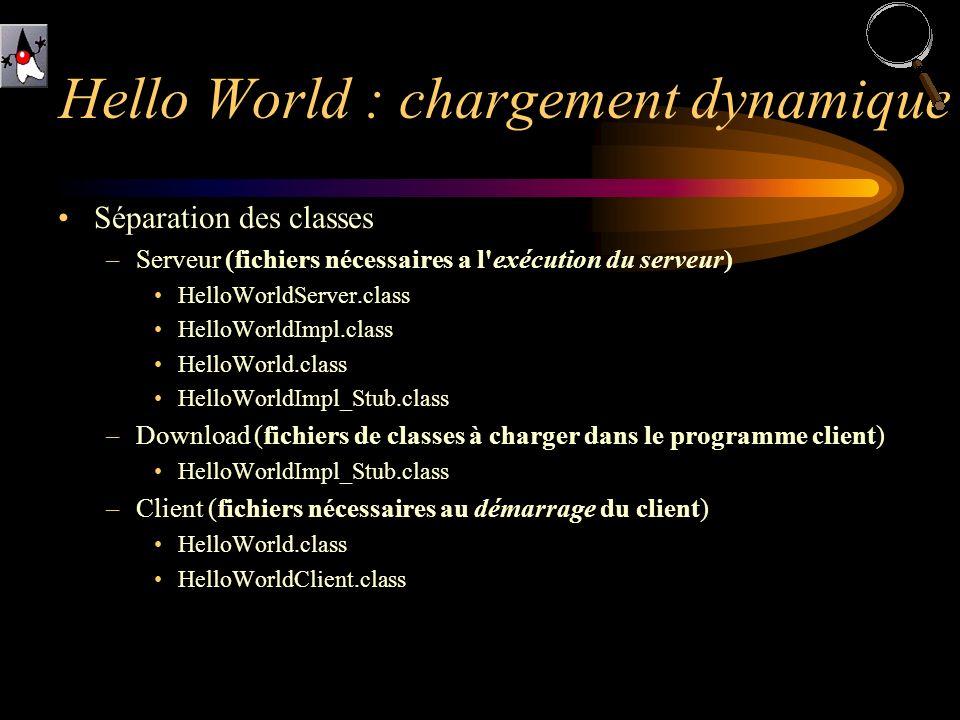 Séparation des classes –Serveur (fichiers nécessaires a l'exécution du serveur) HelloWorldServer.class HelloWorldImpl.class HelloWorld.class HelloWorl