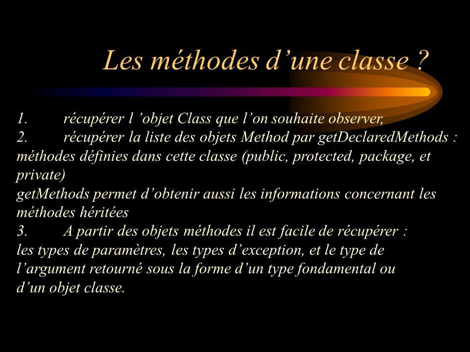 Les méthodes dune classe ? 1.récupérer l objet Class que lon souhaite observer, 2.récupérer la liste des objets Method par getDeclaredMethods : méthod