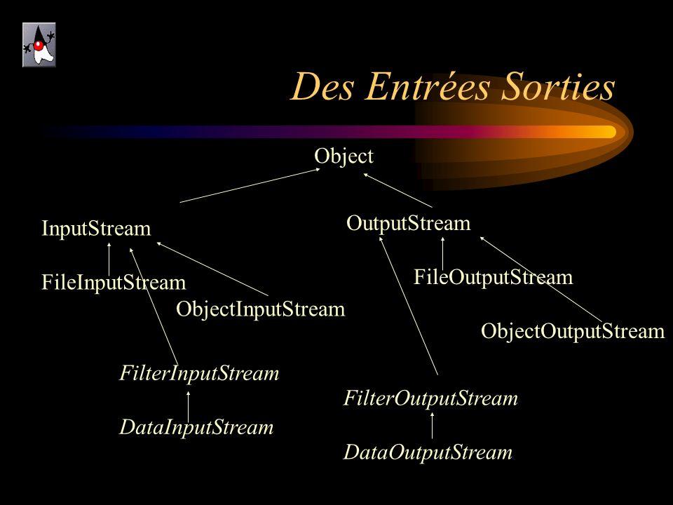 Des Entrées Sorties Object InputStream FileInputStream ObjectInputStream OutputStream FileOutputStream ObjectOutputStream FilterInputStream DataInputS