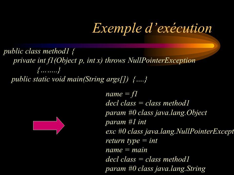 Exemple dexécution name = f1 decl class = class method1 param #0 class java.lang.Object param #1 int exc #0 class java.lang.NullPointerException retur
