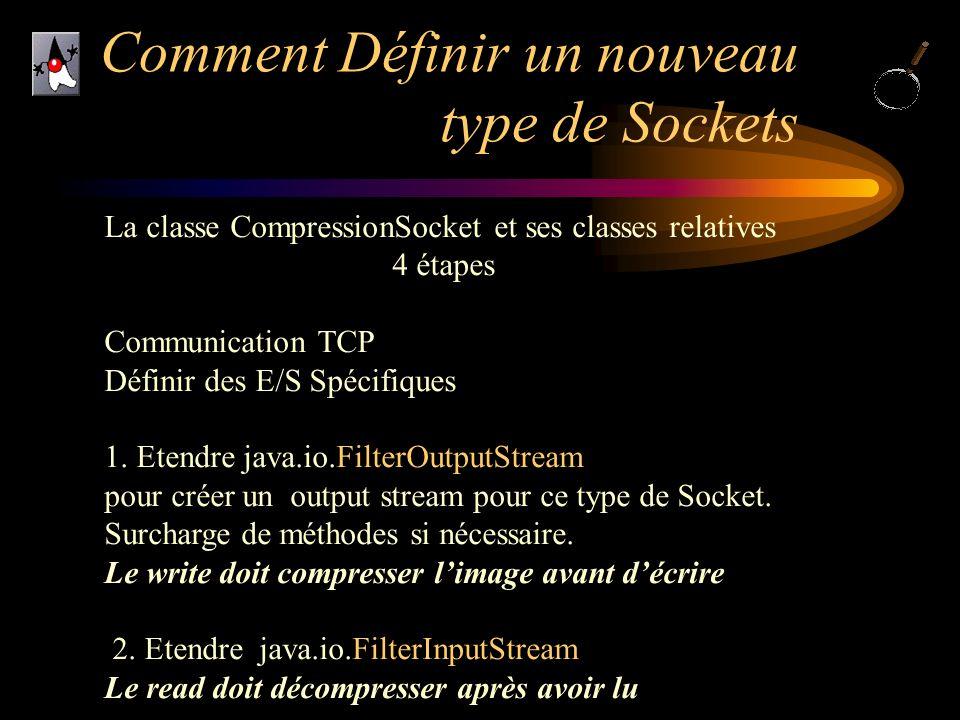 Comment Définir un nouveau type de Sockets La classe CompressionSocket et ses classes relatives 4 étapes Communication TCP Définir des E/S Spécifiques