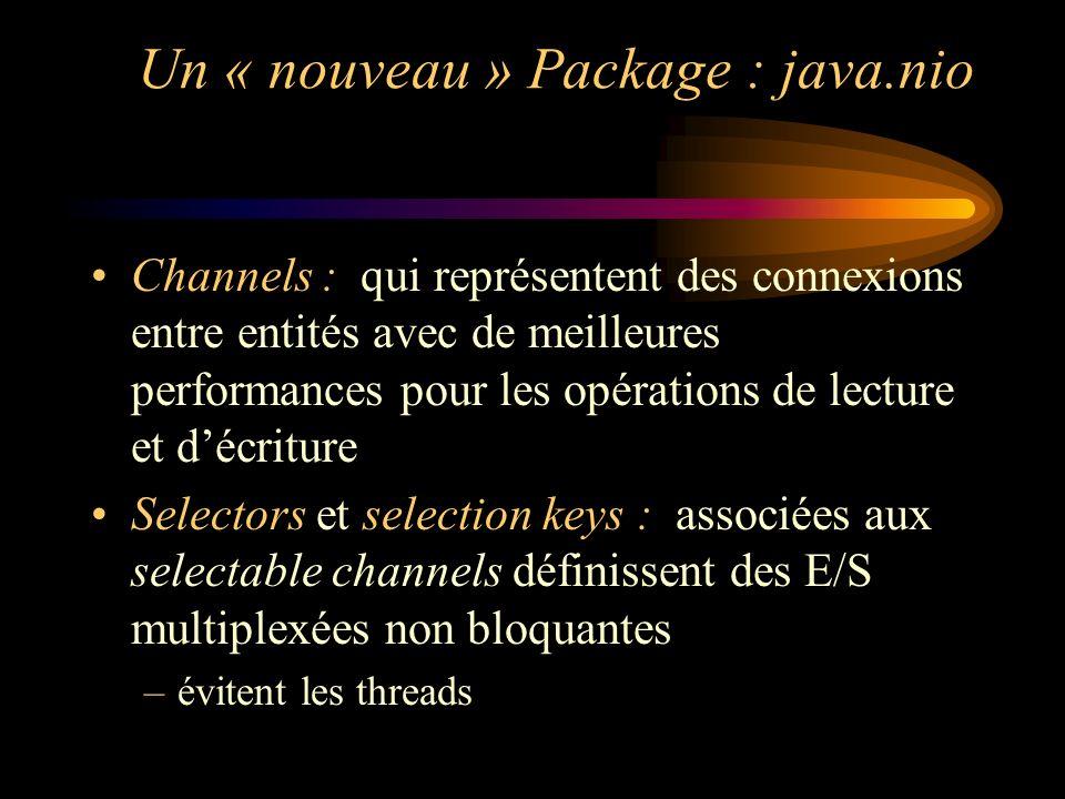Un « nouveau » Package : java.nio Channels : qui représentent des connexions entre entités avec de meilleures performances pour les opérations de lect
