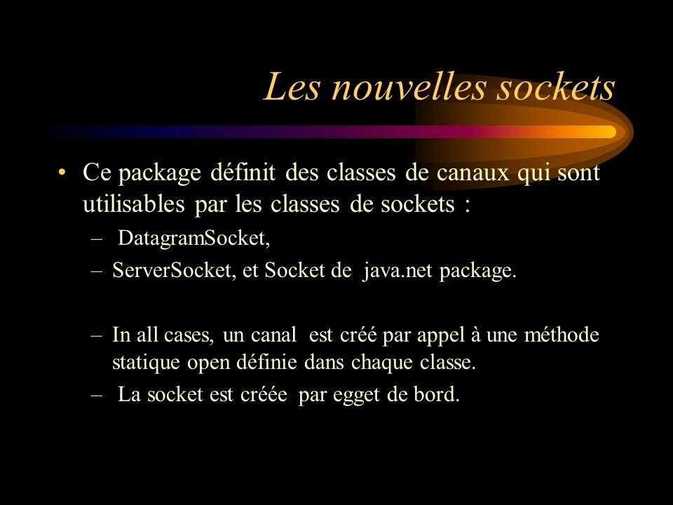 Les nouvelles sockets Ce package définit des classes de canaux qui sont utilisables par les classes de sockets : – DatagramSocket, –ServerSocket, et S