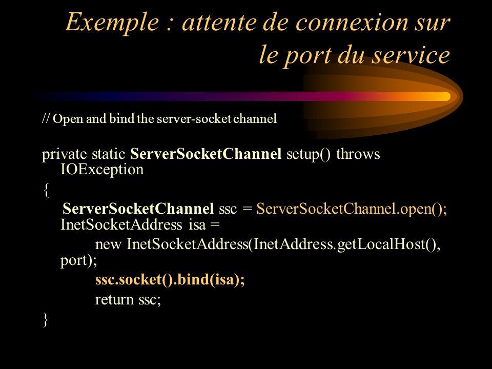 Exemple : attente de connexion sur le port du service // Open and bind the server-socket channel private static ServerSocketChannel setup() throws IOE